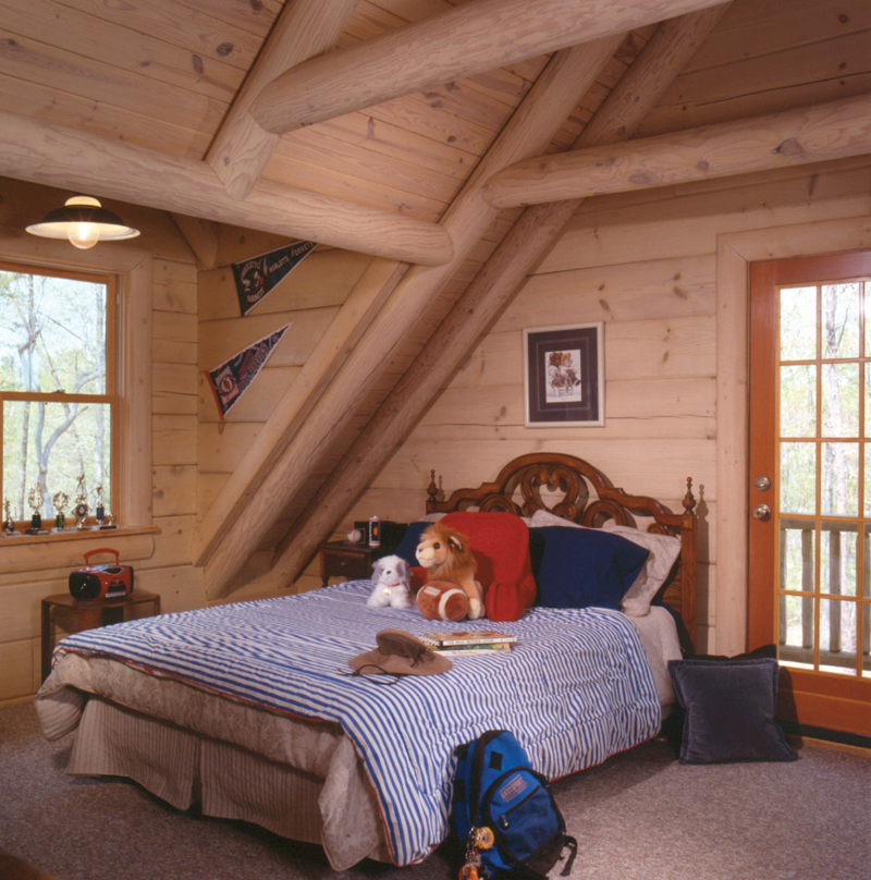 Log House Plan Bedroom Photo 01 - Sitka Rustic Country Log Home 073D-0021 | House Plans and More