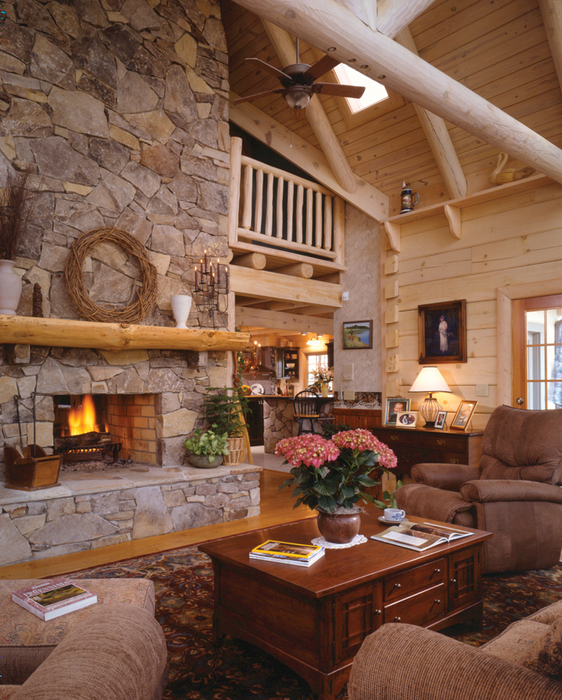 Log House Plan Fireplace Photo 01 - Sitka Rustic Country Log Home 073D-0021 | House Plans and More