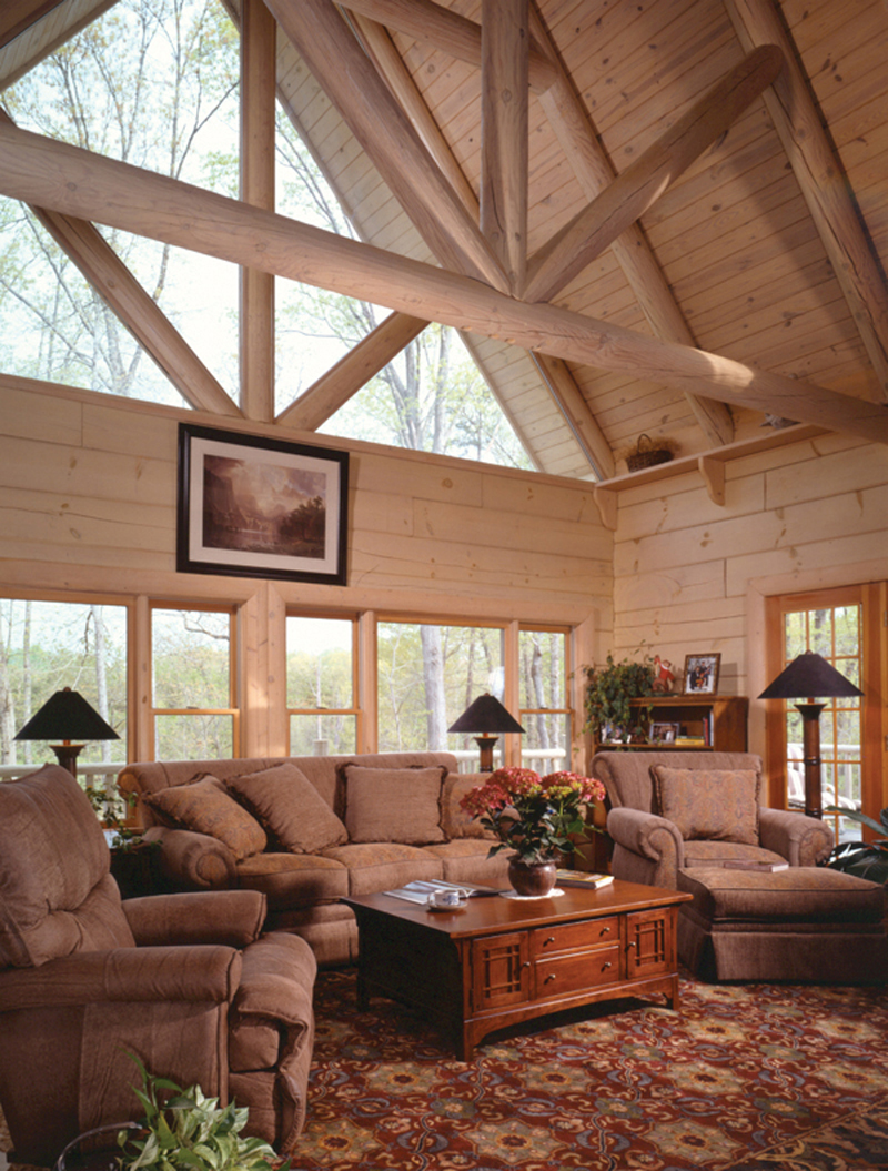 Log House Plan Living Room Photo 01 - Sitka Rustic Country Log Home 073D-0021 | House Plans and More