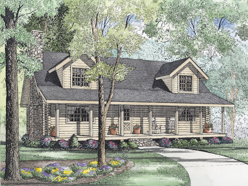Acadian House Plan Front Image - Shadow Ridge Log Cabin Home 073D-0033 | House Plans and More