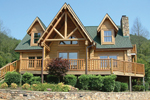Grand Log Home With Broad Deck And Open Design