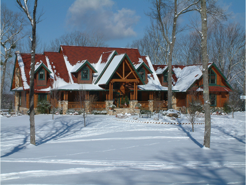 Luxury House Plan Front Photo 01 - Duck Bay Luxury Log Home 073D-0055   House Plans and More