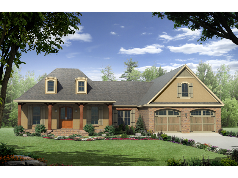 Knollshire Acadian Home Plan 077D-0135   House Plans and More on ranch with bonus over garage, ranch garage addition, floor plans with bonus rooms, ranch houses fireplace, ranch style houses with second level, ranch style house with hip roof, ranch house plans, ranch style homes,