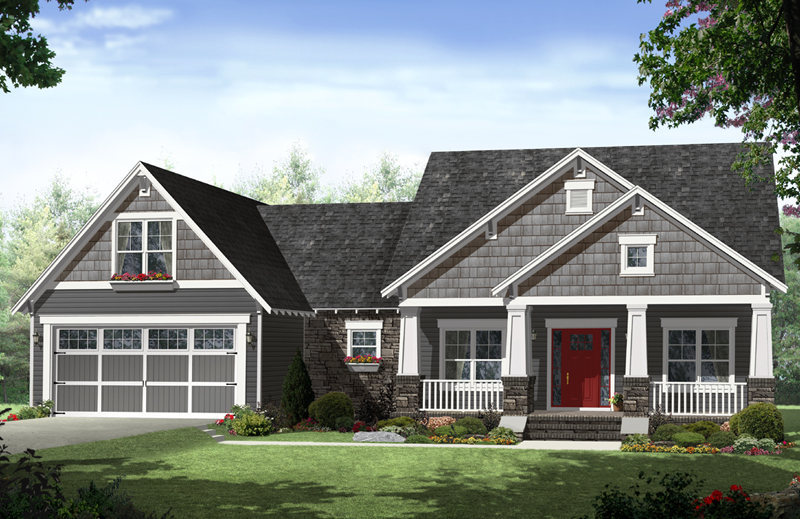 Ranch House Plan Front of Home - Kadina Craftsman Home 077D-0219 | House Plans and More