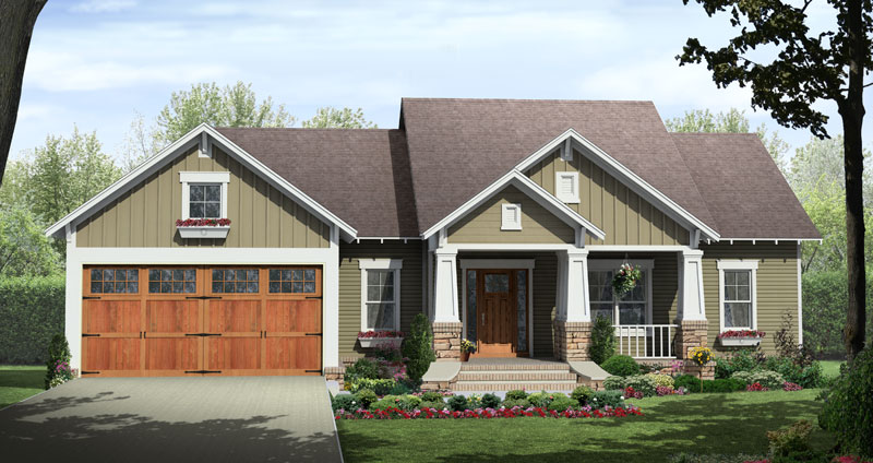 Country House Plan Front of Home - Silver Lake Craftsman Home 077D-0222 | House Plans and More