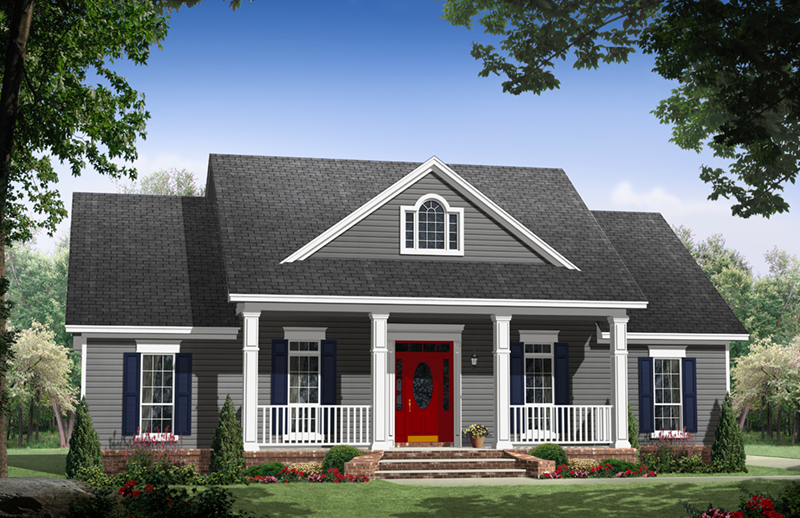 Ranch House Plan Front of Home - Iris Hill Country Home 077D-0254 | House Plans and More
