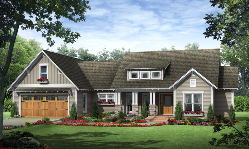 Ranch House Plan Front of Home - Allen Hill Craftsman Cottage 077D-0256 | House Plans and More