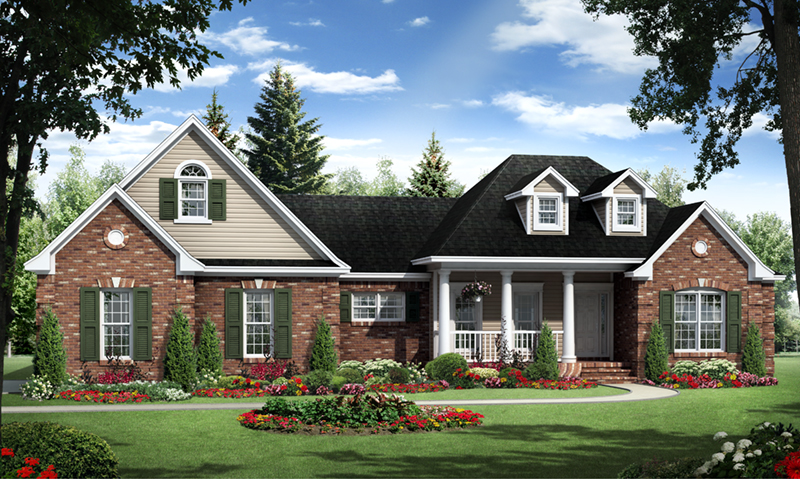 Traditional House Plan Front of Home - Allen Cove European Home 077D-0257 | House Plans and More