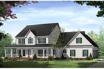 Colonial House Plan Front of Home - Stonewood Lane Country Home 077D-0283 | House Plans and More