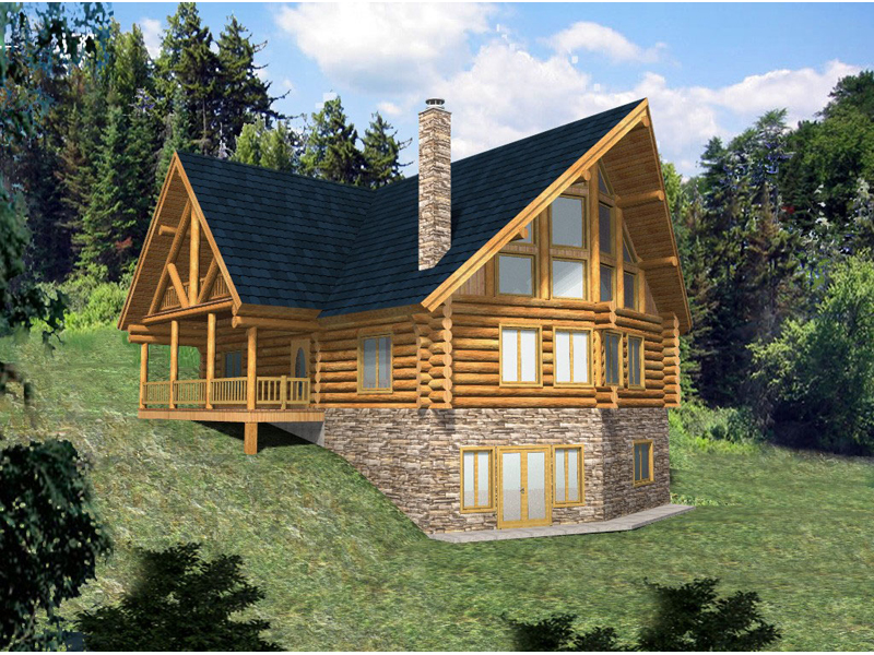 Hickory Creek A-Frame Log Home Plan 088D-0033 | House Plans and More