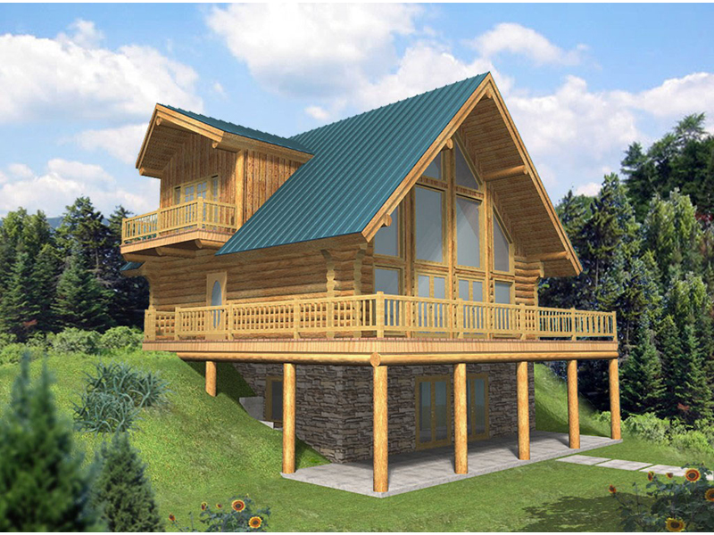 Leola Raised A-Frame Log Home Plan 088D-0046 | House Plans ... on two story house plans with walkout, lake house plans with lookout, lake house plans with porch,