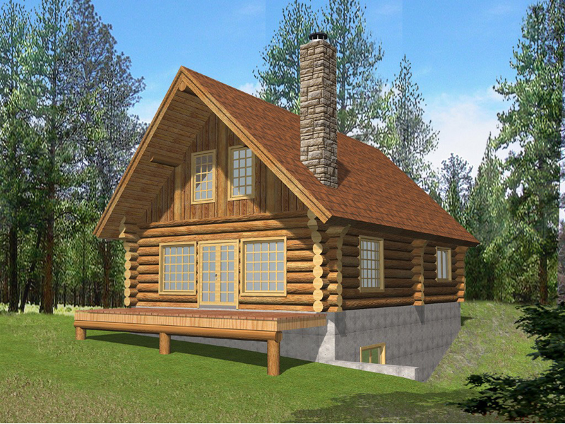 Questover Canyon Log Cabin Home Plan 088D-0053 | House Plans ...