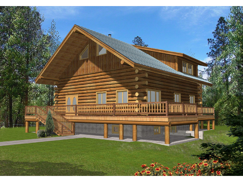 Carmello Log Cabin Home Plan 088D-0055 | House Plans and More