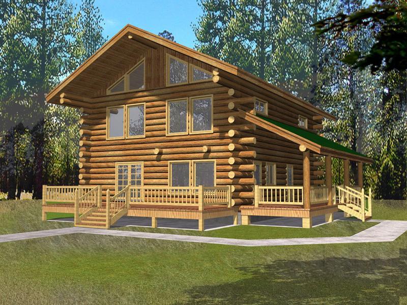 Quaint Cottage Log Cabin Home Plan 088D-0062 | House Plans ...