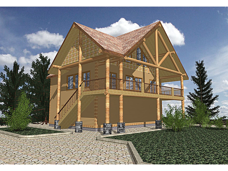 Buffalo Valley Log Cabin Home Plan 088D-0201 | House Plans ...
