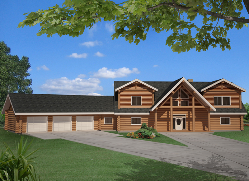 Log House Plan Front of Home -  088D-0410 | House Plans and More