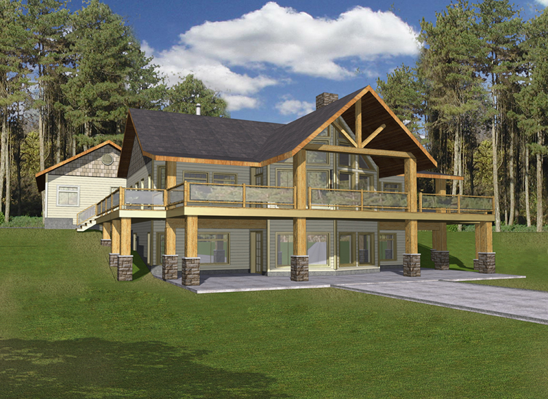 Log Cabin House Plan Front of Home -  088D-0412 | House Plans and More