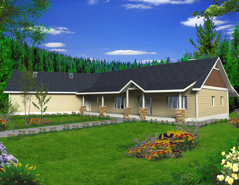Lake House Plan Front of Home -  088D-0419 | House Plans and More