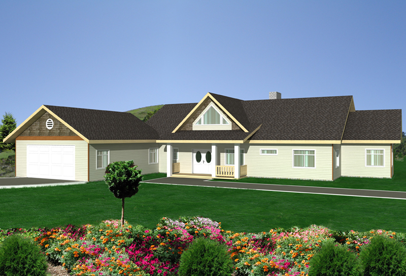 Ranch House Plan Front of Home -  088D-0420 | House Plans and More