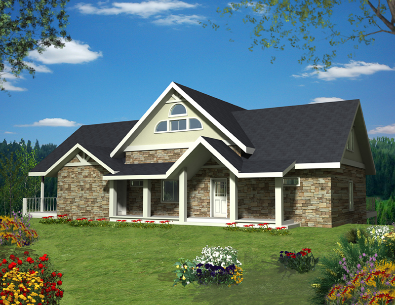 Lake House Plan Front of Home -  088D-0422 | House Plans and More