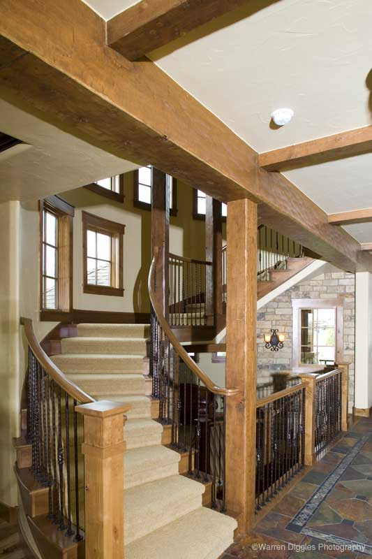 Rustic Home Plan Stairs Photo - Kemper Hill Mountain Home 101S-0003 | House Plans and More
