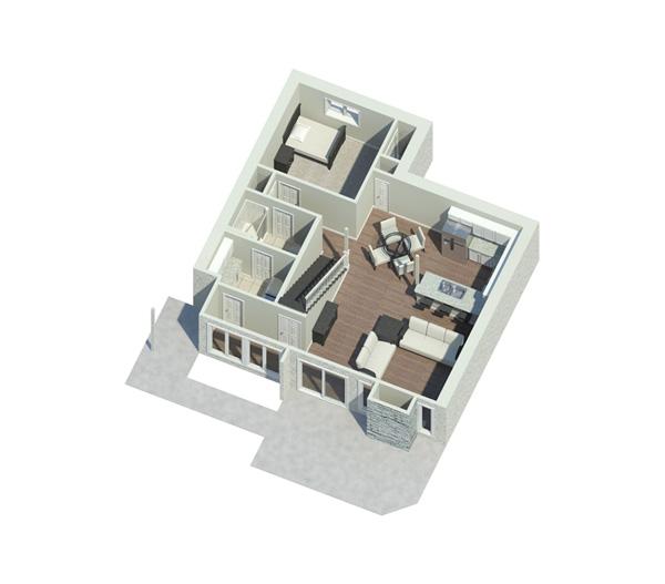 Waterfront Home Plan First Floor 3D 122D-0001