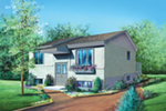 European House Plan Front of Home - Candlestick Split-Level Home 126D-0117 | House Plans and More