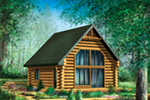 Log Cabin House Plan Front of Home - Pioneer Ridge Log Cabin 126D-1038   House Plans and More