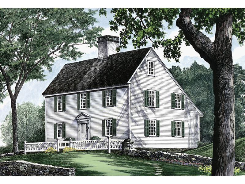 Farmhouse Plan Front Image - Guilford Hill Colonial Home 128D-0075 | House Plans and More