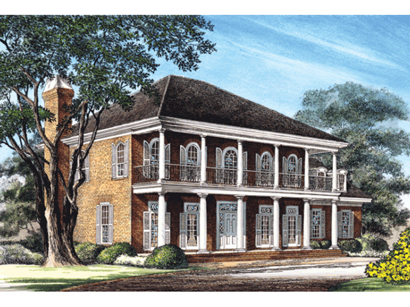 Colonial House Plan Front Image - New Iberia Plantation Home 128D-0108 | House Plans and More