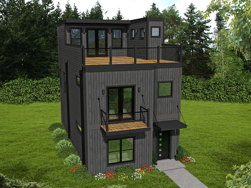 Modern House Plan Front of Home -  141D-0245 | House Plans and More